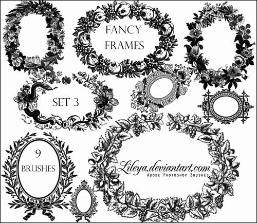 手绘矢量花环,桂冠,花圈ps笔刷下载